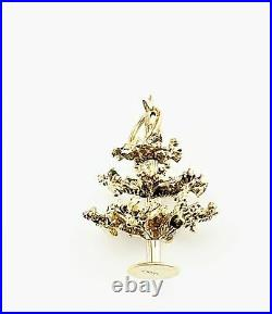 Vintage 14 Karat Yellow Gold and Enamel Articulated Christmas Tree Charm #8414