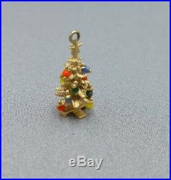 Vintage 14K Gold Christmas Tree Charm Pendant Multi Color Bead Ornaments 3D