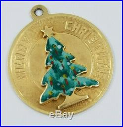 Vintage 14K Gold MERRY CHRISTMAS TREE Charm