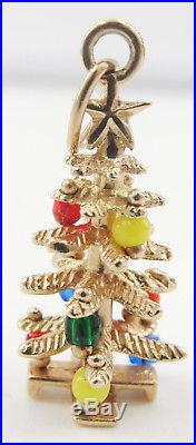 Vintage 14K Yellow Gold Christmas Tree 3 D Charm Pendant Beads Ornaments