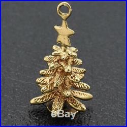Vintage 14K Yellow Gold Christmas Tree Charm Pendant 2.2 Grams