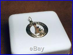 Vintage 14KT 3D Gold Merry Christmas Tree With Gemstone Ornaments Pendant Charm