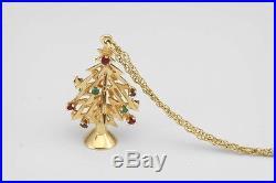 Vintage 14Kt Gold Ruby Emerald Sapphire 3D Christmas Tree Charm Pendant Xmas