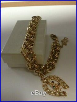 Vintage 14k Gold Charm Bracelet, 14k Horseshoe Christmas Tree Charm Gemstones