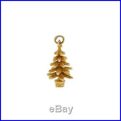 Vintage 14k Solid Gold Christmas Fir Tree Charm For Bracelet 1948 /49 Quality