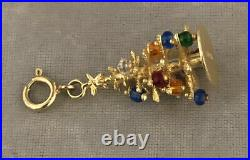 Vintage 14k Solid Yellow Gold Christmass Tree Charm With Multi Color Beads