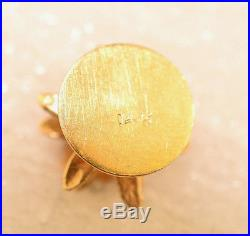 Vintage 14k Yellow Gold 3d Christmas Tree Charm 2.1 Grams Red Green White Dots