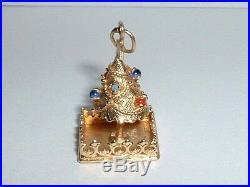 Vintage 14k Yellow Gold 3d Gemstone Christmas Tree Pendant Charm