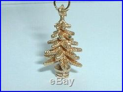 Vintage 14k Yellow Gold 3d Holiday Christmas Tree In Pot Charm