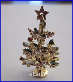 Vintage 14k Yellow Gold/ Enamel 3d Movable Christmas Tree Charm Bracelet/pendant