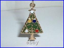 Vintage 14k Yellow Gold Enamel Christmas Tree Charm