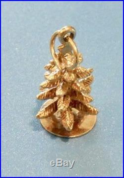 Vintage 14k Yellow Gold Merry Christmas/Pine Tree Charm/Pendant 2 gr