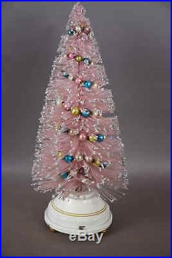 Vintage 15 PINK Bottle Brush Christmas Tree with Mercury Glass Garland Musical
