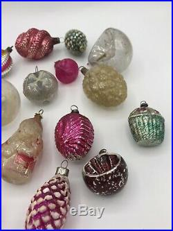 Vintage 16 Antique Glass Christmas tree ornaments Fragile 1930s decorations 1010