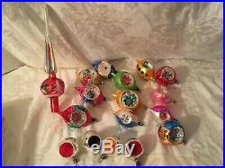 Vintage 16 Christmas Glass Ornaments Indent Teardrop Tree Topper Poland
