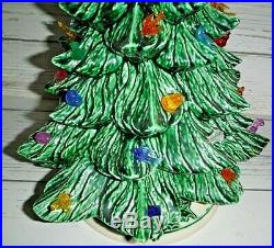 Vintage 16 Green Ceramic Christmas Tree with Bells Birds Candles Lanterns