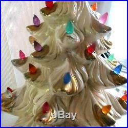 Vintage 16 Hand Painted Ceramic Christmas Tree White Gold Music Box White Xmas