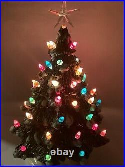 Vintage 16 Inch Ceramic Lighted Christmas Tree Presents RARE