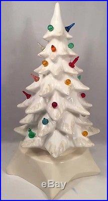 Vintage 16 White Atlantic Lighted Ceramic Christmas Tree Off White Star Base