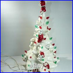 Vintage 16 White Ceramic Light-Up Christmas Tree With Mice. Mouse