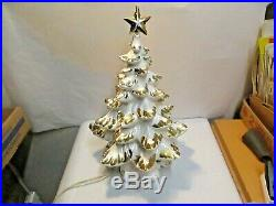 Vintage 17-18 Atlantic Mold White Gold Ceramic Christmas Tree w Musical Stand