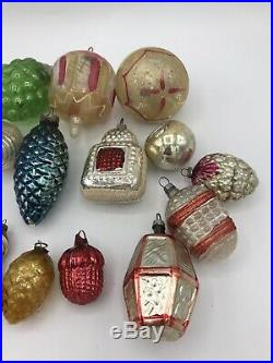 Vintage 17 Antique Glass Christmas tree ornaments 1920s Fragile Rare 1010