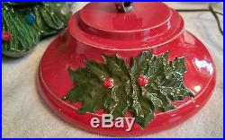 Vintage 17 Inch Tall Lighted Handcrafted Ceramic Christmas Tree
