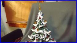 Vintage 18'' Atlantic Mold Flocked Green Ceramic Christmas Tree with Star Lights