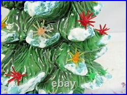 Vintage 18 Ceramic Green Christmas Tree Music Box Built In Atlantic Mold Copy