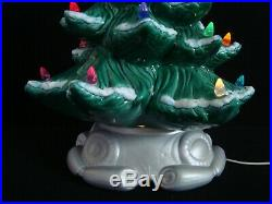 Vintage 18 Flocked Atlantic Mold Green Ceramic Christmas Tree with Star