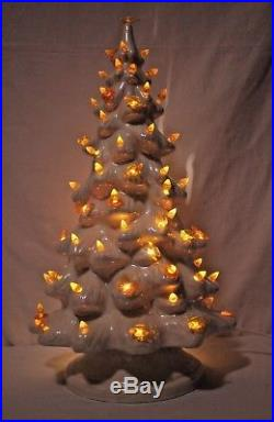 Vintage 19 1970s Ceramic White Iridescent Light Up Christmas Tree + Stand