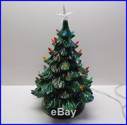 Vintage 19 ATLANTIC MOLD Green Ceramic Christmas Tree with Bulbs & Star