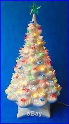 Vintage 19 Beautiful Lighted Pearlescent Ceramic Christmas Tree