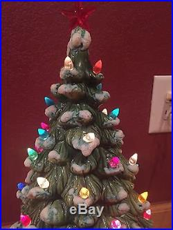 Vintage 19' Ceramic CHRISTMAS TREE Snow Flocked Branches Loose Lights Two Pieces
