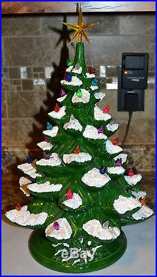 Vintage 19 Ceramic Christmas Tree Light, Lamp, Snow Covered Branches Holly Base