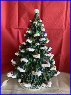 Vintage 19 Flocked Ceramic Lighted Christmas Tree On BaseBEAUTIFUL