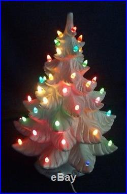 vintage 19 lighted atlantic mold white ceramic christmas tree iridescent finish