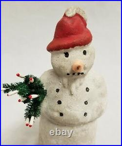 Vintage 1920's Paper Mache Snowman with Tree 7 Tall Germany