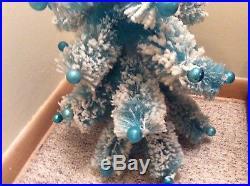 Vintage 1940-50's Baby Blue Flocked Bottle Brush Tabletop Christmas Tree