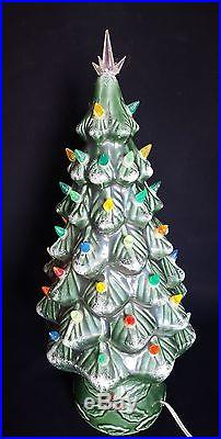 Vintage 1950's 19 Inch Tall Green Ceramic Christmas Tree with Holly Base Lighted