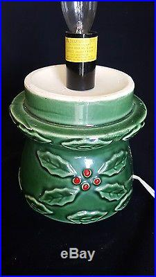 Vintage 1950 S 19 Inch Tall Green Ceramic Christmas Tree With Holly