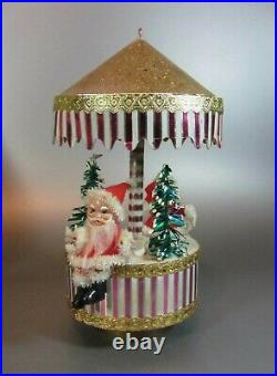 Vintage 1950's Christmas Musical Merry Go Round Santa tree Carousel Revolving