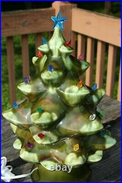 Vintage 1950's Mallory Jamar Ceramic Christmas Tree 14 1/2 3 Piece Very Rare