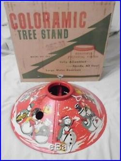 Vintage 1950's Metal Tin Snowman Christmas Tree Stand/skirt, Box, EXCELLENT