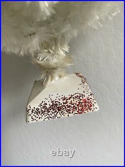 Vintage 1950's RARE Kirks 18 Snow Puff Flossed Glass White Christmas Tree