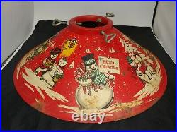 Vintage 1950's RED Tin Litho 20 Coloramic Christmas Tree Stand Snowman Snowmen