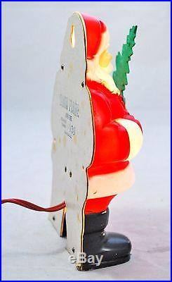 Vintage 1950s Christmas Glolite Santa Plastic Lighted Wall Plaque with Tree 7