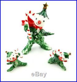 Vintage 1950s Commodore Japan Christmas Tree Snowman & Babies 3 Pc Figurine Set