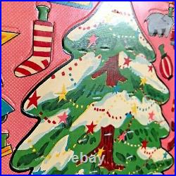 Vintage 1950s Japan Punch-out Cardboard Christmas Tree Toy & Ornaments Set Nm