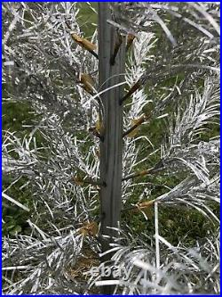 Vintage 1950s Pom Pom Aluminum Christmas Tree Complete Branches 6 Ft Tall